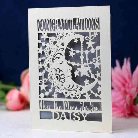 Papercut Over The Moon Congratulations Card - A6 (small) / Silver