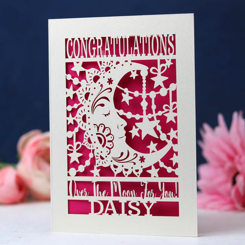 Papercut Over The Moon Congratulations Card - A6 (small) / Shocking Pink