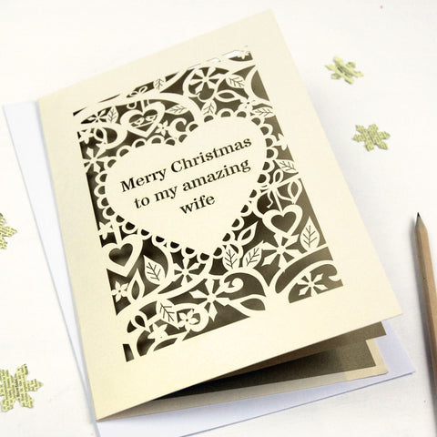 Personalised 'Merry Christmas To My Amazing…' Card - A5 / Cream / Gold Leaf