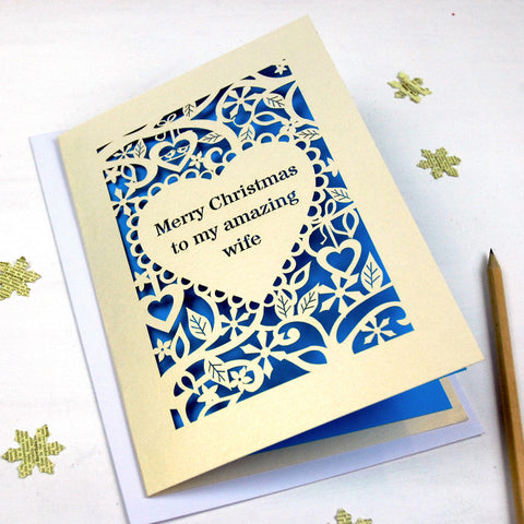 Personalised 'Merry Christmas To My Amazing…' Card - A5 / Cream / Peacock Blue