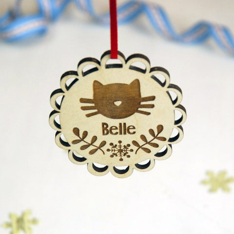 Personalised Cat Christmas Decoration