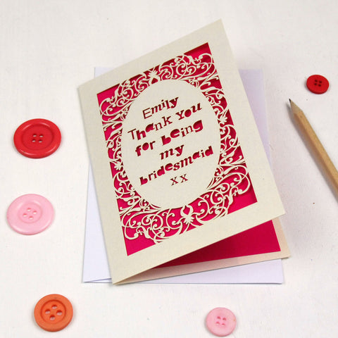 Personalised Lasercut Thank You Card - A5 / Cream / Shocking Pink