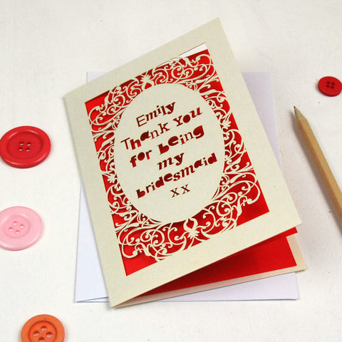 Personalised Lasercut Thank You Card - A5 / Cream / Bright Red