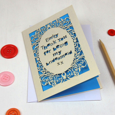 Personalised Lasercut Thank You Card - A5 / Cream / Peacock Blue