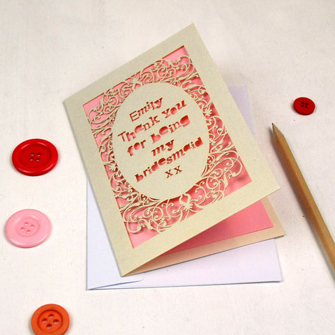 Personalised Lasercut Thank You Card - A5 / Cream / Candy Pink