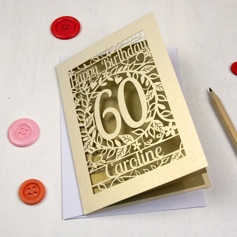 Personalised Papercut Flower Birthday Card - A5 / Cream / Gold Leaf