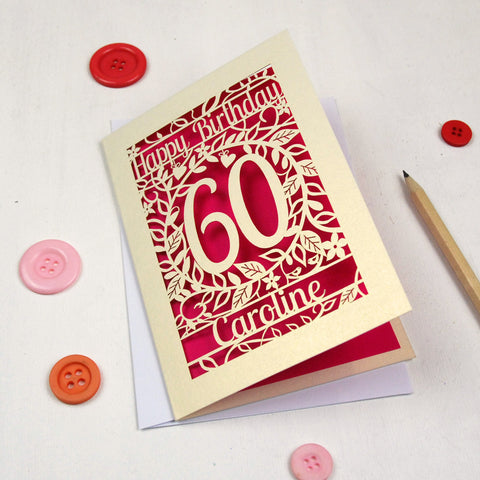 Personalised Papercut Flower Birthday Card - A5 / Cream / Shocking Pink