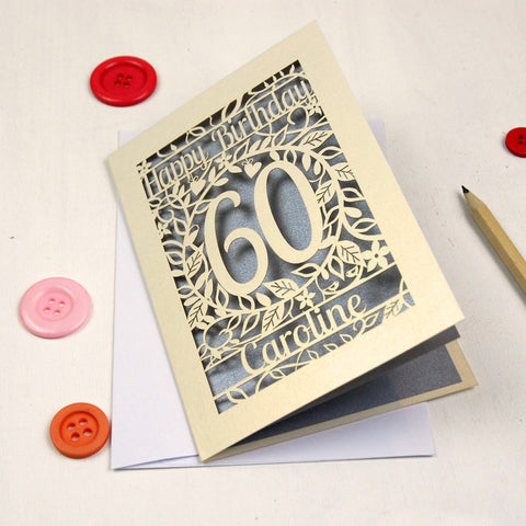 Personalised Papercut Flower Birthday Card - A5 / Cream / Silver