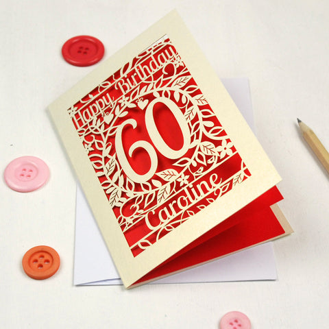 Personalised Papercut Flower Birthday Card - A5 / Cream / Bright Red