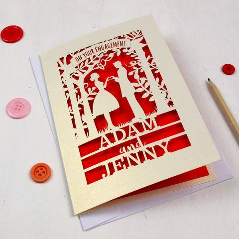 Personalised Papercut Couple Engagement Card - A5 / Cream / Bright Red