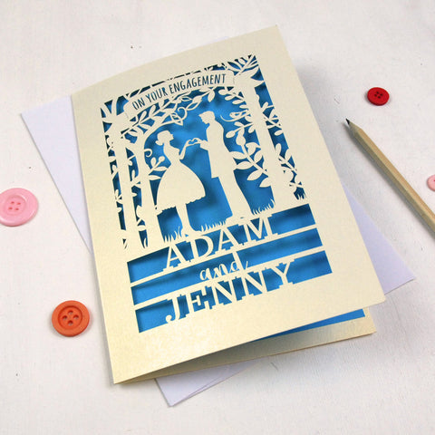 Personalised Papercut Couple Engagement Card - A5 / Cream / Peacock Blue