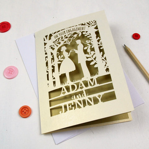 Personalised Papercut Couple Engagement Card - A5 / Cream / Gold Leaf