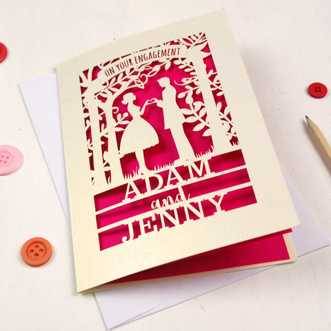 Personalised Papercut Couple Engagement Card - A5 / Cream / Shocking Pink