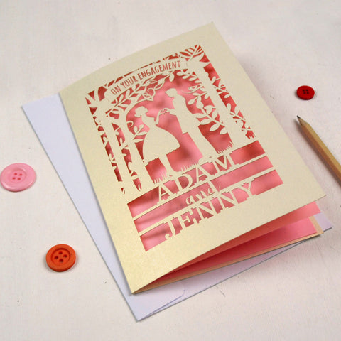 Personalised Papercut Couple Engagement Card - A5 / Cream / Candy Pink