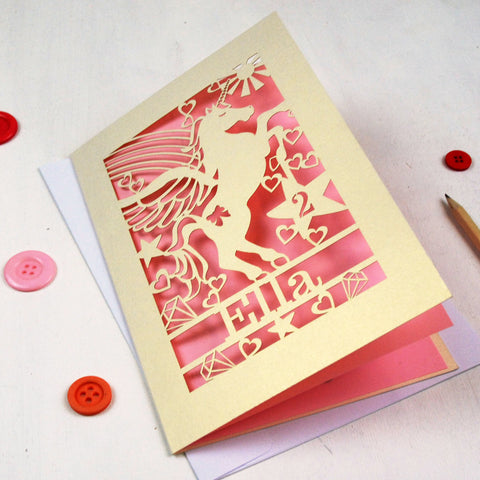 Personalised Papercut Unicorn Birthday Card - A5 / Cream / Candy Pink