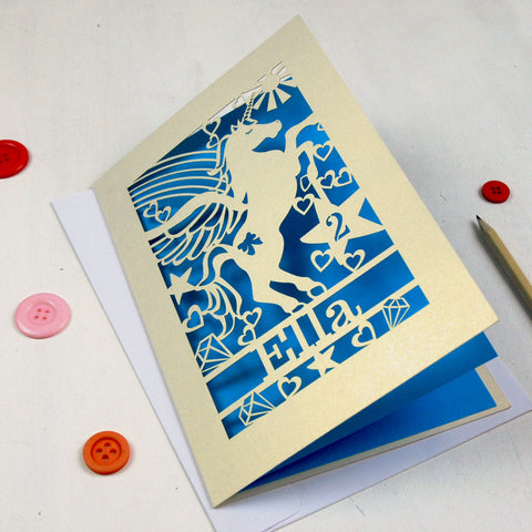 Personalised Papercut Unicorn Birthday Card - A5 / Cream / Peacock Blue