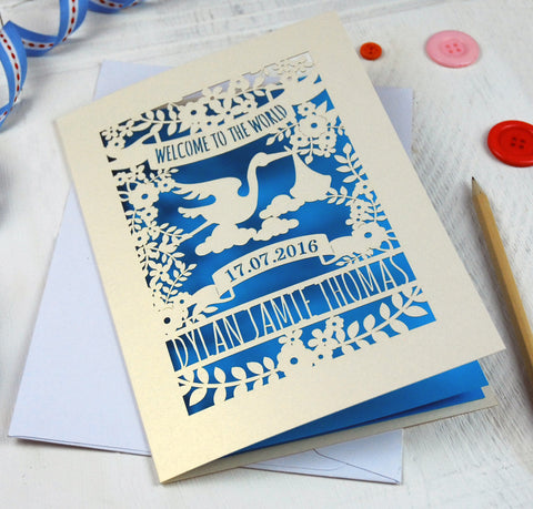 Personalised Floral New Baby Papercut Card - A5 / Cream / Peacock Blue
