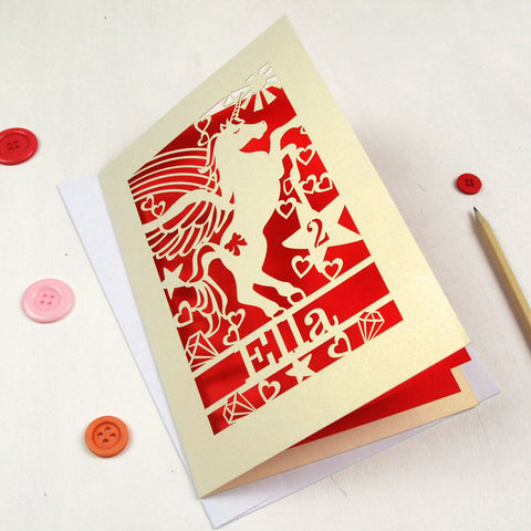 Personalised Papercut Unicorn Birthday Card - A5 / Cream / Bright Red