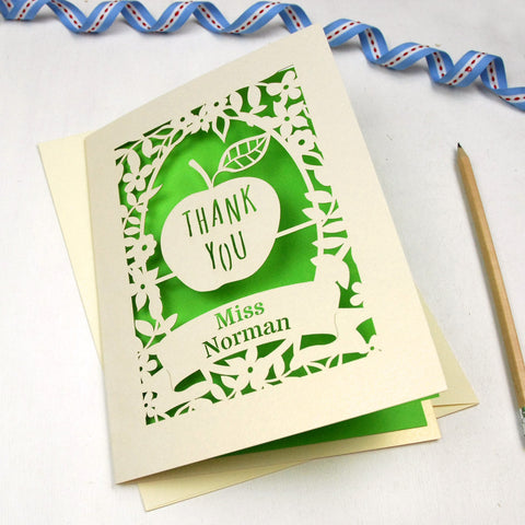 Personalised Papercut Teacher Apple Card - A5 / Cream / Bright Green