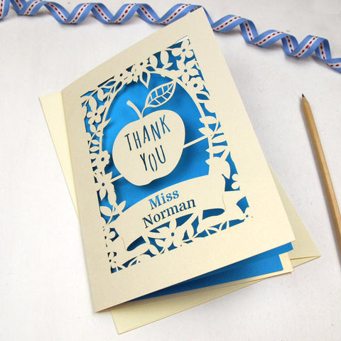 Personalised Papercut Teacher Apple Card - A5 / Cream / Peacock Blue