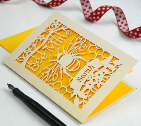 Personalised Bee Mine Papercut Card in Cream and Sunshine Yellow -