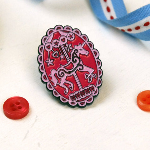 Unicorn Carousel Enamel Pin -