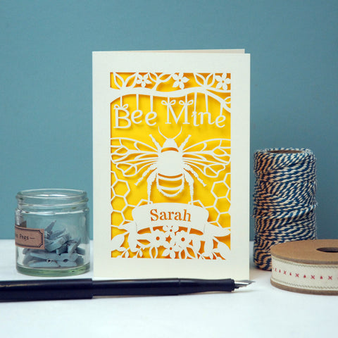 Personalised Bee Mine Papercut Valentine's Card -