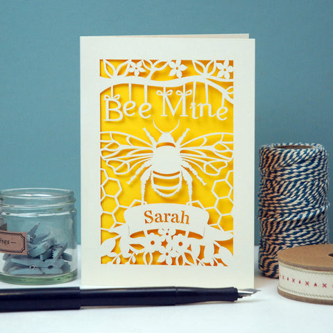 Personalised Papercut Bee Mine Valentines Card -