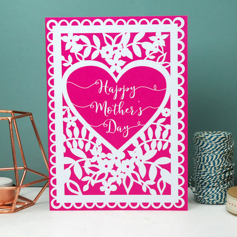 Happy Mother's Day Heart Printed Card WP 019 -