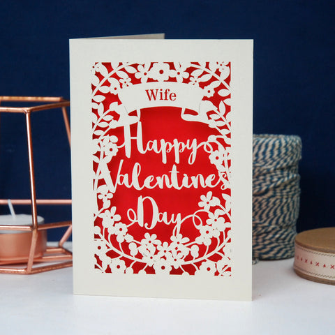 Personalised Papercut Valentine's Card - A6 (small / Cream/Bright Red