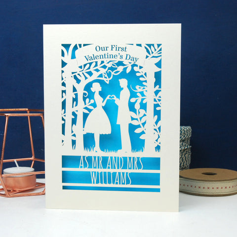 Personalised Couple First Valentine's Card - A6 (small) / Cream/Peacock blue