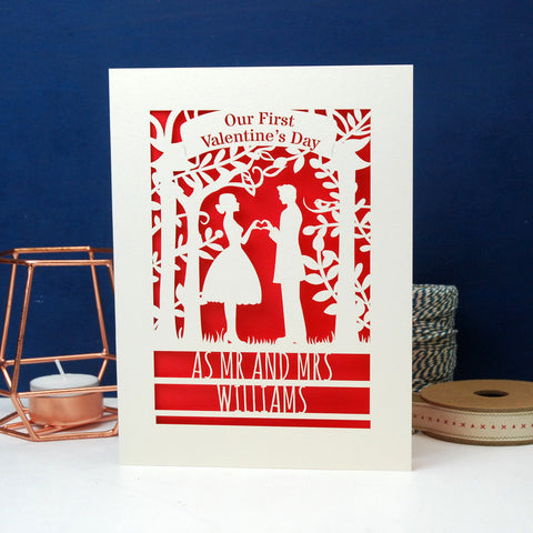 Personalised Couple First Valentine's Card - A6 (small) / Cream/Red