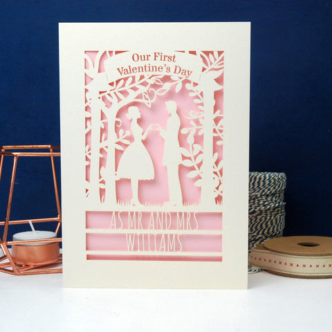 Personalised Couple First Valentine's Card - A6 (small) / Cream/Candy Pink