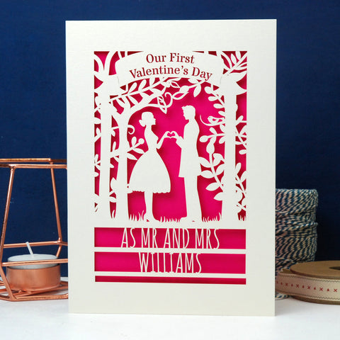 Personalised Couple First Valentine's Card - A6 (small) / Cream/Shocking Pink