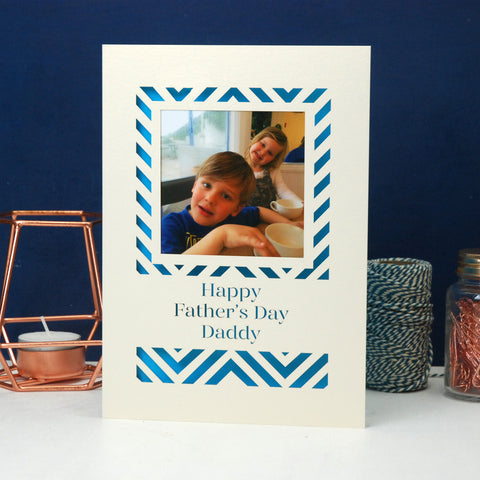 Father's Day Geometric Keepsake Photo Card A5