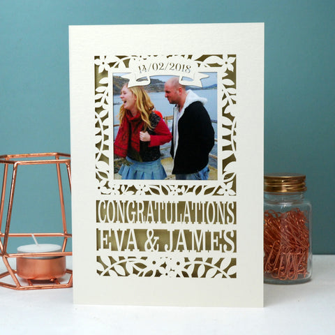 Engagement Keepsake Photo Card - A6 (small) / Gold Leaf;