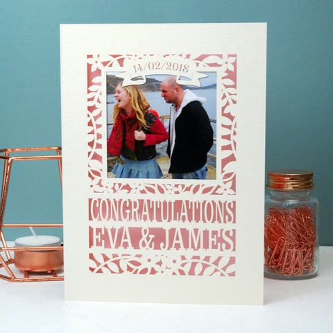 Engagement Keepsake Photo Card - A6 (small) / Candy Pink;