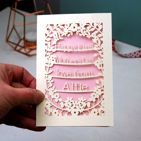 Personalised Papercut First Mother's Day Card - A5 / Cream / Candy Pink