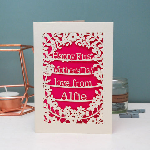 Personalised Papercut First Mother's Day Card - A5 / Cream / Shocking Pink