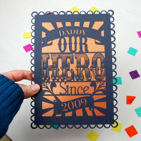 Personalised Our Hero A5 Papercut