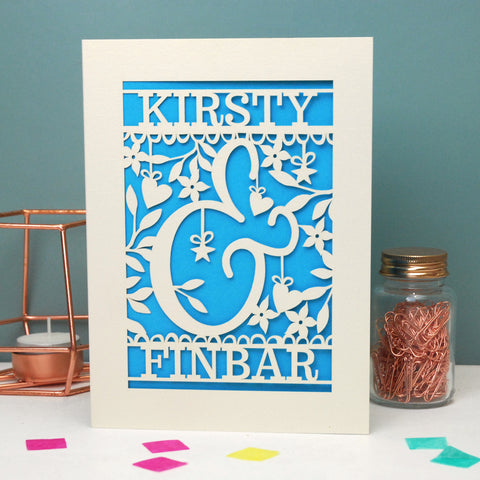 Personalised Papercut Ampersand Valentines Card - A5 / Cream / Peacock Blue