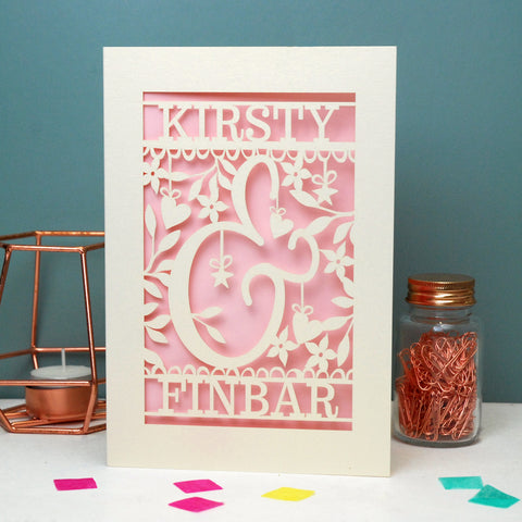 Personalised Papercut Ampersand Valentines Card - A5 / Cream / Candy Pink