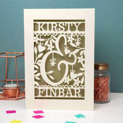 Personalised Papercut Ampersand Valentines Card - A5 / Cream / Gold Leaf