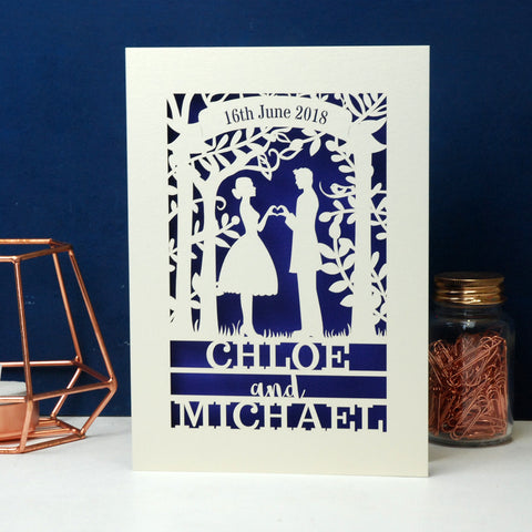 Personalised Papercut Couple Wedding Date Card -