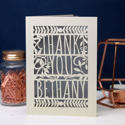 Personalised Papercut Floral Thank You Card - A5 / Cream / Silver