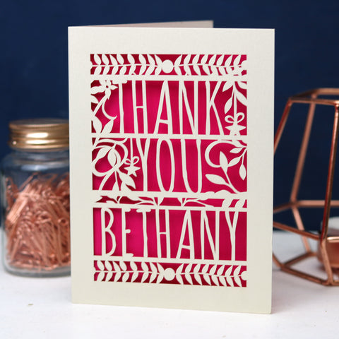 Personalised Papercut Floral Thank You Card - A5 / Cream / Shocking Pink