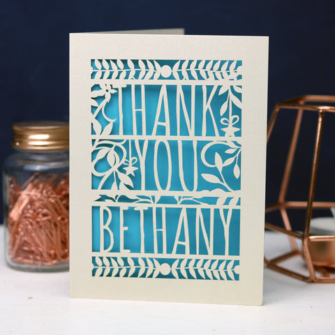Personalised Papercut Floral Thank You Card - A5 / Cream / Peacock Blue