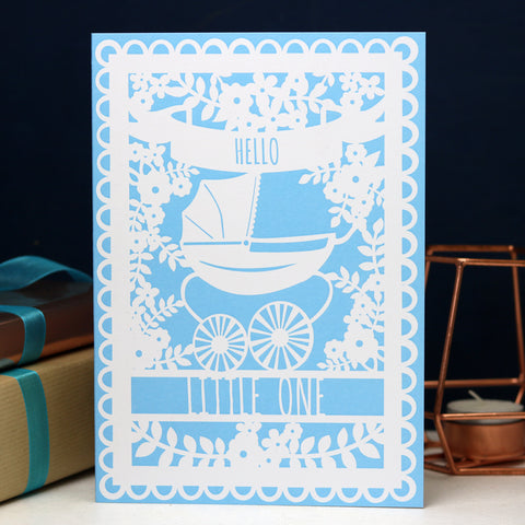 "Vintage Pram ""Hello Little One"" Printed Card- Light Blue"