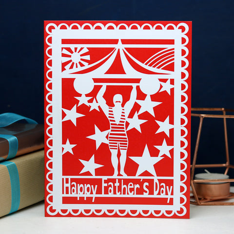 Strong Man Happy Father's Day Printed Card- Red