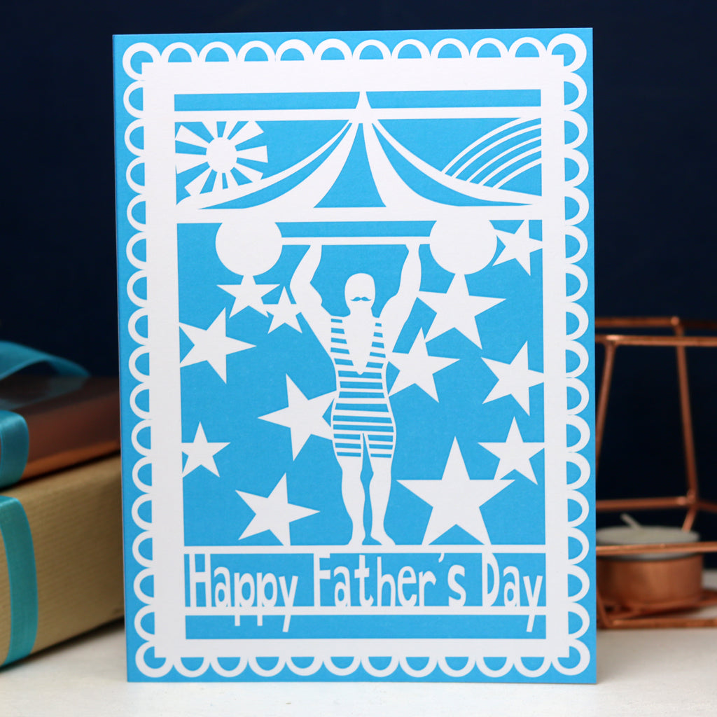 Strong Man Happy Father's Day Printed Card- Blue